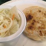 pupusa revuelta with slaw ordered without tomato sauce on the slaw