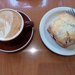 Vanilla latte and cranberry scone
