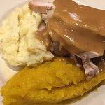 Turkey, dressing, mashed potatoes, pureed squash (cranberry salad not photographed)