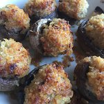 crab stuffed mushrooms topped with crumbs - very very good - best part of our meal