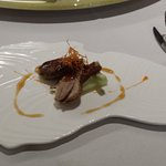 Pan-fried Goose Liver with Honey Sauce accompanied with Roasted London Duck