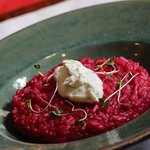 Risotto with beetroot and blue cheese