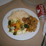 Min middag på hotellrummet.