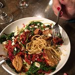 Chicken, sun dried tomatoes, pasta, spinach....soooo good!