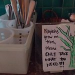 That's a cute sign next to the cutlery!