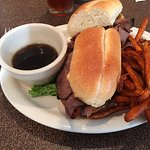 French Dip with sweet potato fries