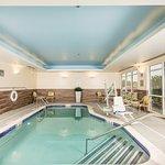 Heated indoor saline mineral swimming pool