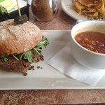 Vegan Burger with Moroccan Soup