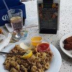 garlic shrimp, calamari fritti, mahi fingers