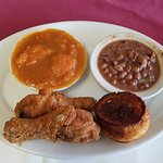 Fried chicken, candied yams, black-eyed peas, and cornbread