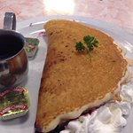 Pancake stuffed with blueberries is absolutely delicious!