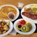 pumkin pancakes, turky bacon, saursage, avo, fruit, hashtatoes.
