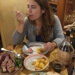 Florentine Steak, potatoes, and house wine.