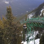 Sulphur Mountain Gondola approaching the top of its ascent.