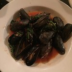 Delicious mussels in tomato basil sauce. Yum!