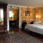 Spacious room,m comfortably large bed. Antique furniture.