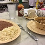 Red beans and rice on left. Gumbo on the right