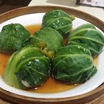 Bok Choy Wrapped Chicken Dumplings - Delicious!
