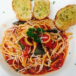 Our special dish for Low season  5 pm to 8 pm  Spaghetti with tomato sauce 99 b. Chicken,bacon B