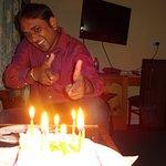 cake and dinner enjoying moment. :)