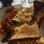My go to breakfast mushroom and cheese omelette. I make mine into a sanwhich. The bacon is soooo