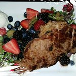 Beet and Berry Salad with champagne honey mascarpone and a steak