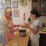 Lou (my wife) and Agnes (our hostess) making Goulash soup