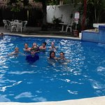 The kids enjoying the pool in their downtime.