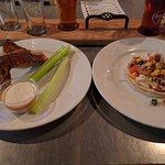 smoked wings and pork street taco