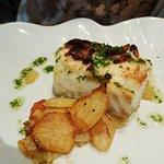 bacalao con bacon y ali oli,, calidad suprema y muy bien cocinado