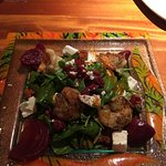 Beet salad with grilled shrimp. Just ok