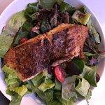 Greek Salad with blackened fish