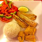 Grilled Sea Bass (Corvina) with Plantain and Salad