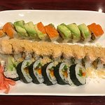 Marci Gras Roll (comes with peppered tuna, but we always get them to put fresh salmon instead),