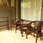 verandah with the small clothe drying rack