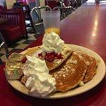 White chocolate raspberry pancakes. Delicious!