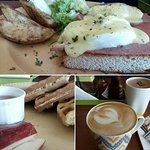 Egg Benedict, Waffles, Cappuccino and Hot Chocolate
