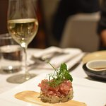 Yellow fin tartar with smoked eggplant