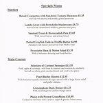 An example of our weekly specials menu