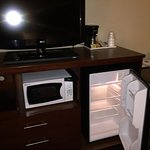 TV, refrigerator and microwave