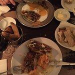 Fantastische vegetarisch haggis & wilde paddestoelen , pickles en chips