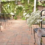 Summer weddings are common on the patio, tailored to the needs of bride and groom.