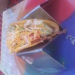 Mini wet burrito and pork taco