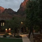 View from the ground of Cable Mountain Lodge at Zion, Springdale, Utah