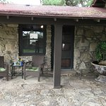 The Pinion's Lodge patio with a nice fountain next to it. It's attached to the lodge.