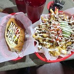 The Sonora hot dog and super fries with pollo