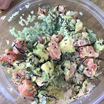 Speedy service and excellent poké bowls. The spicy tuna is a must! Great place to sit outside an