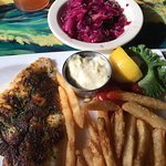 Grilled snapper, red cabbage slaw