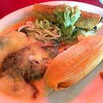 Tamale, Chicken Flauta and Chili Relleno