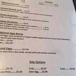 Breakfast menu, Quarterdeck Restaurant and Pub  6555 Hardy Bay Road, Port Hardy, British Columbi